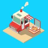 Constructeur de nourriture mobile Maître de la livraison Chef Web Template de nourriture de rue Camion isométrique réglé de nourr Image stock