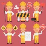 Constructeur Holds Different Signs illustration de vecteur