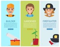 Constructeur, jardinier et sapeur-pompier Vector Banners Images libres de droits