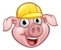 Constructeur Pig Cartoon Character Photographie stock