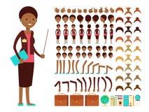 Constructeur plat de vecteur de création de caractère de professeur féminin ou de professeur illustration stock