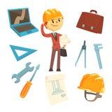Constructeur professionnel And Architect And ses outils, homme et ses attributs de profession réglés des objets d'isolement de ba illustration stock