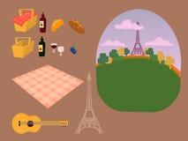 Constructeur réglé de vecteur pour un pique-nique à Paris, endroit de Tour Eiffel pour une famille et un pique-nique romantique e Illustration Stock