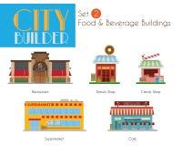 Constructeur Set 2 de ville : Bâtiments de nourriture et de boisson Photographie stock libre de droits