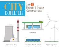Constructeur Set 3 de ville : Constructions d'énergie et de puissance illustration stock