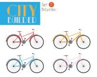 Constructeur Set 7 de ville : Ensemble d'illustration de vecteur de bicyclettes Illustration Libre de Droits