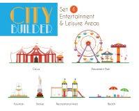 Constructeur Set 4 de ville : Régions de divertissement et de loisirs illustration stock