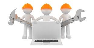 Constructeurs avec l'ordinateur portatif et les outils illustration de vecteur