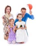 Constructeurs de famille de quatre Photographie stock libre de droits