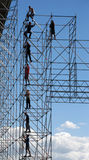 Constructeurs sur la construction élevée Photo stock