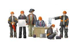 Constructeurs sur le chantier Illustration industrielle avec des travailleurs, des grues et la machine de mélangeur concret Images libres de droits