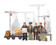 Constructeurs sur le chantier Illustration industrielle avec des travailleurs, des grues et la machine de mélangeur concret Photos stock