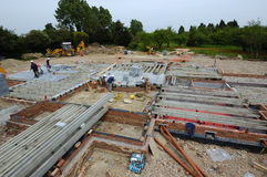 Constructing Block & Beam Floor. Work Place, Construction Site Royalty Free Stock Image
