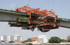 Constructing a bridge over River Chao Phraya Bangkok Thailand Royalty Free Stock Image