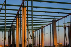 Constructing building. Beams in a constructing building stock photography