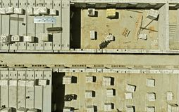 Constructing and building of a multi-storey house. Aerial. Constructing and building of a multi-storey house stock image