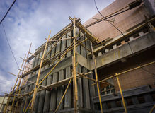 Constructing a building using bamboo scaffolding photo taken in Jakarta Indonesia Stock Images
