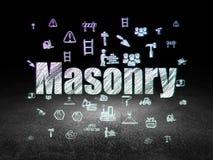 Constructing concept: Masonry in grunge dark room Royalty Free Stock Photos
