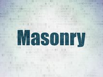 Constructing concept: Masonry on Digital Data Paper background Royalty Free Stock Photo