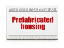 Constructing concept: newspaper headline Prefabricated Housing Royalty Free Stock Photo
