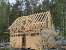 Constructing frame house near the forest. Frame house in russian village royalty free stock images