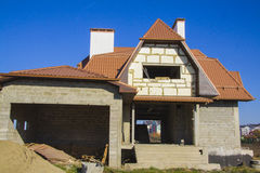 Constructing  house. Beautiful country house in alpine style. Constructing and design of building concept Stock Photos