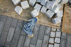 Constructing a new promenade. Constructing a new pavement promenade stock photos