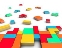 Constructing and positioning idea with colorful blocks. Stock Photos