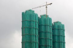 Constructing residential flats. The construction of residential flats in Hong Kong Stock Images