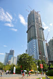The constructing skyscraper. (east tower), Zhujiang new town - Guangzhou of China royalty free stock image