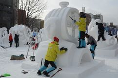 Constructing Snow Sculptures Sopporo Festival Royalty Free Stock Images
