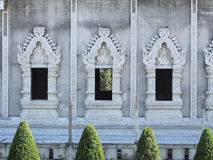 Constructing Thai art windows. In temple. Present in same level view Stock Photo