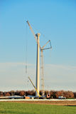 Constructing Wind Turbine. Crane ready to lift blade on to wind tower Stock Images