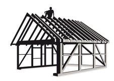 Constructing wood framed house Royalty Free Stock Image