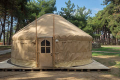 Constructing a yurt, called a ger Stock Images