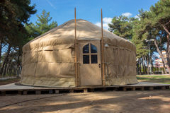 Constructing a yurt, called a ger Royalty Free Stock Photos