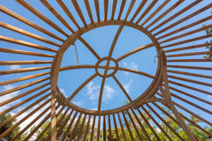Constructing a yurt, called a ger Stock Image