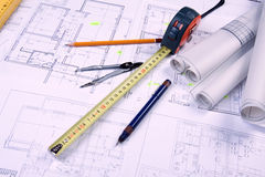 Constructino plans. Construct plans, maps and tools. Architecture stock photo
