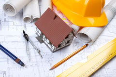 Constructino plans. Construct plans, maps and tools. Architecture Royalty Free Stock Image