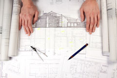 Constructino plans. Construct plans, maps and tools. Architecture stock image