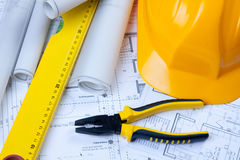 Constructino plans. Construct plans, maps and tools. Architecture Royalty Free Stock Photography