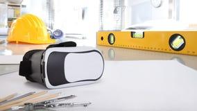 Constructio virtuale del fondo della scrivania di realtà architettonica fotografie stock libere da diritti