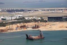 Construction à l'aéroport de Hong Kong Photographie stock libre de droits