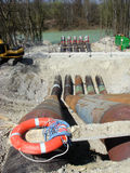 Construction 089. A construction area at a river royalty free stock photo