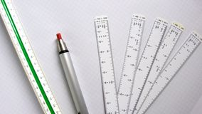 Construction. Scale Pencil for Architecture and Construction Royalty Free Stock Photography