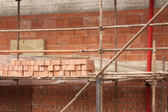 Construction. Of a brick house Royalty Free Stock Photos