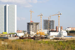 Construction. Of  the multi-storey apartment houses, in city, outdoor Royalty Free Stock Photos