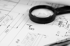 Construction. A closeup view of an architect's drafting table showing a blueprint Stock Image