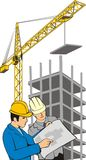 Construction. Two building specialists on background building tower and crane Royalty Free Stock Photography