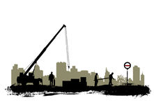 Construction. Grunge style construction silhouette vector Stock Image